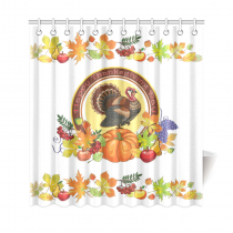 InterestPrint Thanksgiving Turkey Celebration Home Decor, Autumn Harvest Polyester Fabric Shower Curtain Bathroom Sets with Hooks