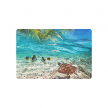 InterestPrint Sea Turtle Swimming at Tropical Island Anti-slip Door Mat Home Decor, Palm Tree Seascape Indoor Outdoor Entrance Doormat Rubber Backing