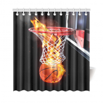 InterestPrint Home Decor Flaming Basketball Going Through a Court Net Polyester Fabric Shower Curtain Bathroom Sets with Hooks