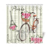 InterestPrint Vintage Romantic Paris Effiel Tower Home Decor, Pink Floral Flower Bike Polyester Fabric Shower Curtain Bathroom Sets with Hooks