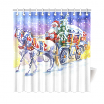 InterestPrint Watercolor Santa Claus in a Carriage with Horse Home Decor, Christmas Holiday Polyester Fabric Shower Curtain Bathroom Sets with Hooks