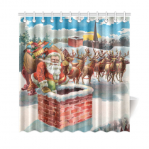 InterestPrint Merry Christmas Home Decor, Vintage Santa Claus Reindeer and Sleigh on the Roof Top Polyester Fabric Shower Curtain Bathroom Sets with Hooks