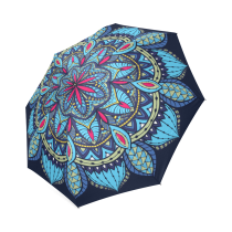 InterestPrint Hipster Mandala Blue Flower Foldable Umbrella