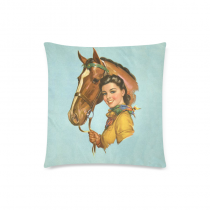 InterestPrint Cushion cover throw pillow case 18 inch retro vintage cow girl pet horse cute both sides image zipper