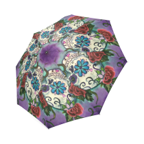 InterestPrint Hipster Sugar Skull Flowers Foldable Travel Umbrella 43  Arc