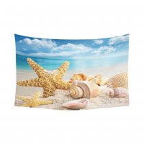 InterestPrint Wall Art Home Decor, Starfish and Seashells on the Beach with Blue Sky Cotton Linen Tapestry Wall Hanging Art Sets