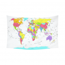 InterestPrint Global Map Wall Art Home Decor, World Map Geologist Gifts Educational Geographical Earth,Purple Bule Red Yellow Cotton Linen Tapestry Wall Hanging Art Sets