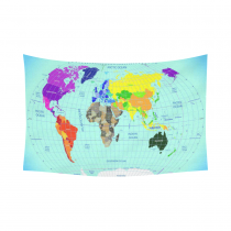 InterestPrint Global Earth Map Wall Art Decor, High Detailed World Map with Time Zone Clocks, Navy Bule Cotton Linen Tapestry Wall Hanging Art Sets