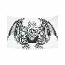 An original illustration of a Cthulhu InterestPrint Woodblock Style  Wall Art Home Decor, Octopus Black and White Cotton Linen Tapestry Wall Hanging Art Sets 90 X 60 Inchesin a Cotton Linen Wall Tapestry