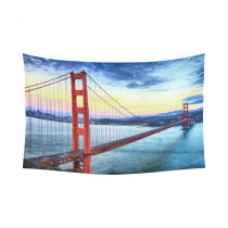 InterestPrint Summer Sky Wall Art Home Decor, Golden Gate Bridge San Francisco California USA Cotton Linen Tapestry Wall Hanging Art Sets