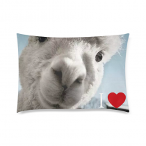 InterestPrint I Love Llama Pillowcase Zip 20 x 30 Inches Custom Zippered Pillow Cover Cases