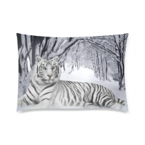 InterestPrint White Siberian Tiger Pillow Case 2 Sides
