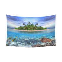 InterestPrint Underwater World with Sea Turtle and Fishes  Wall Art Home Decor, Marine Life at Tropical Island of Maldives  Cotton Linen Tapestry Wall Hanging Art Sets