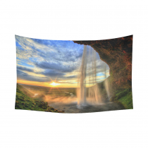InterestPrint Scenery Wall Art Home Decor, Waterfall at Sunset, Iceland Cotton Linen Tapestry Wall Hanging Art Sets