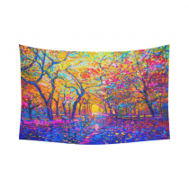 InterestPrint Landscape Nature Art Wall Art Home Decor Collection, Oil Painting Tree of Life Colorful Cotton Linen Tapestry Wall Hanging Art Sets