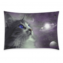 InterestPrint Universe Nebula Galaxy Outer Space Cat Pillowcase One Side - Funny Cat Blue Eyes in Earth Planet Globe Solar System Pillow Cases Cover Set Shams Decorative