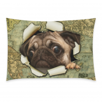 InterestPrint Animal Pug Dog Watercolor Vintage World Map Pillowcase Standard Size 20 x 30 Inches One Side - Sailor Puppy Dog out of Old Oil Painting Map Pillow Cases Cover Set Pet Shams Decorative