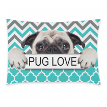 InterestPrint Puppy Pug Dog Pug Love Green Chevron Pattern Pillowcase Standard Size 20 x 30 Inches One Side - A Pug Dog with Pug Love in Hands Chevron Pillow Cases Cover Set Pet Shams Decorative