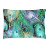 InterestPrint Custom Green Peacock Feather Pillowcase Standard Size 20 x 30 Inches One Side for Couch Bed - Beautiful Peacock Feather Seamless Pattern Pillow Cases Cover Set Pet Shams Decorative