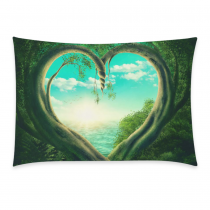 InterestPrint Green Heart Tree Forest Sky Sea Pillowcase Standard Size 20 x 30 Inches One Side for Couch Bed - Two Trees Forest Forming A Heart Cloud Beach Pillow Cases Cover Set Pet Shams Decorative