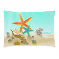 InterestPrint Sea Starfish Beach Hawaii Seashell Ocean Pillowcase Standard Size 20 x 30 Inches One Side - Summer Sand Star Seascape Snail Shell Scallop Pillow Case Cover Set Shams Decorative