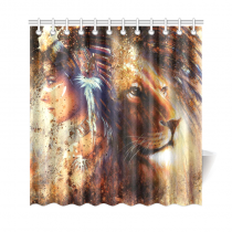InterestPrint Lion King Home Decor, African American Woman Polyester Fabric Shower Curtain Bathroom Sets