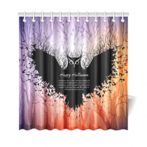 InterestPrint Halloween Nightmare Home Decor,Funny Animal Owl Polyester Fabric Shower Curtain Bathroom Sets
