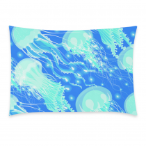 InterestPrint Home Bathroom Decor Sea Underwater Jellyfish Pillowcases Decorative Pillow Cover Case Shams Standard Size for Couch Bed-Blue Color-20x30 Inch-Summer Season Jellyfish Glowing Pattern