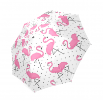 InterestPrint Stylish Pink Flamingo Polka Dot Foldable Travel Fashion Umbrella