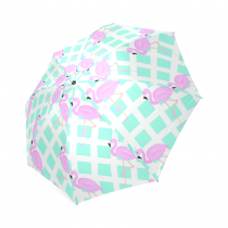 InterestPrint Stylish Pink Flamingo Blue Plaid Foldable Travel Fashion Umbrella