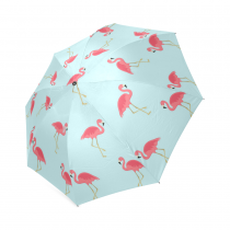 InterestPrint Stylish Pink Flamingo Blue Foldable Travel Fashion Umbrella