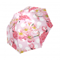 InterestPrint Stylish Pink Flamingo Cherry Blossom Polka Dot Foldable Travel Fashion Umbrella