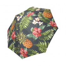 InterestPrint Stylish Hawaiian Floral Pineapple Foldable Travel Fashion Umbrella