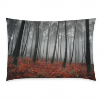InterestPrint Home Bathroom Decor Autumn Tree Forest Pillowcases Decorative Pillow Cover Case Shams Standard Size for Couch Bed-Black Red-20x30 Inch-Polyester Cotton-Natural Fall Foggy Tree Forest