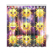 InterestPrint Emoji Smile Home Decor, Sun Galaxy Space Polyester Fabric Shower Curtain Bathroom Sets