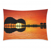 InterestPrint Abstract Landscape Ocean Tree Music Guitar Sunset Bird Pillowcase for Couch Bed 20 x 30 Inches - Music Island with A Guitar Reflection in Water Pillow Cover Case Shams Decorative