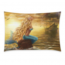 InterestPrint Beautiful Princess Sea Mermaid with Ghost Ship at Sunset Pillowcase for Couch Bed 20 x 30 Inches - Fairy Ocean Shimmer Mermaid Soft Pillow Cover Case Shams Decorative