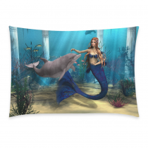 InterestPrint Ocean 3D Underwater World Home Decor, Mermaid Dolphin Starfish Pillowcase 20 x 30 Inches - Sea Grass Fish Blue Cotton Pillow Cover Case Shams Decorative