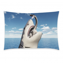 InterestPrint Scary Cool White Shark Blue Ocean Sea Pillowcase for Couch Bed 20 x 30 Inches - Great Shark Eating Computer Generated 3D Illustration Soft Cotton Pillow Cover Case Shams Decorative