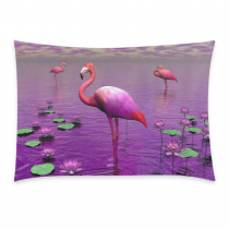 InterestPrint Cute Pink Flamingo among Purple Water Lily and Violet Pillowcase for Couch Bed 20 x 30 Inches - Lake and Cloud Comfortable Soft Pillow Cover Case Shams Decorative