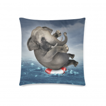 InterestPrint Funny Animal Cute Elephant Home Decor, Unique Ocean Soft Cotton Pillowcase 18 x 18 Inches - Elephant Floating on A Life Ring Pillow Cover Case Shams Decorative