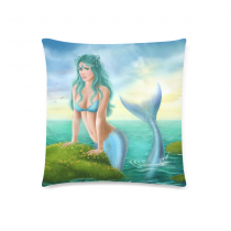 InterestPrint Beautiful Princess Ocean Home Decor, Fantasy Mermaid at Sunset Pillowcase 18 x 18 Inches - Blue Sky Soft Comfortable Cotton Pillow Cover Case Cushion Shams Decorative