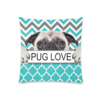 InterestPrint Custom Puppy Pug Dog Love Chevron Zippered Cushion Pillowcase 18 x 18 Twin Sides - Cute Pug Dog Love Pillow Cases Cover Set Shams Decorative for Couch Bed