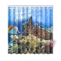 InterestPrint Underwater World Animals Home Decor, Sea Turtle Fish Coral Polyester Fabric Shower Curtain Bathroom Sets with Hooks