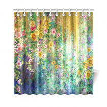InterestPrint Spring Sunflower Home Decor, Mystic Floral Flower Polyester Fabric Shower Curtain Bathroom Sets with Hooks