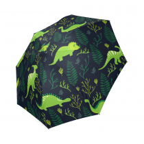 InterestPrint Cute Dinosaur Floral Pattern Foldable Travel Rain Umbrella