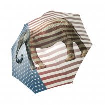 InterestPrint American Flag Elephant Foldable Travel Rain Umbrella