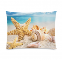 InterestPrint Sea Starfish Seashell Beach Home Decor, Ocean Blue Sky Soft Pillowcase 20 x 26 Inches - Summer Sand Star Seascape Pillow Cover Case Shams Decorative