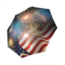 InterestPrint American Flag Fireworks Foldable Travel Rain Umbrella