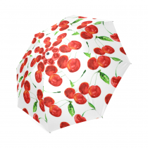 InterestPrint Clear Red Cherry Foldable Travel Rain Umbrella